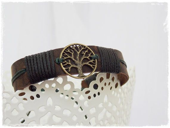 Men's Leather Cuff Bracelet Tree Of Life by ChrisOsCreations, €12.50