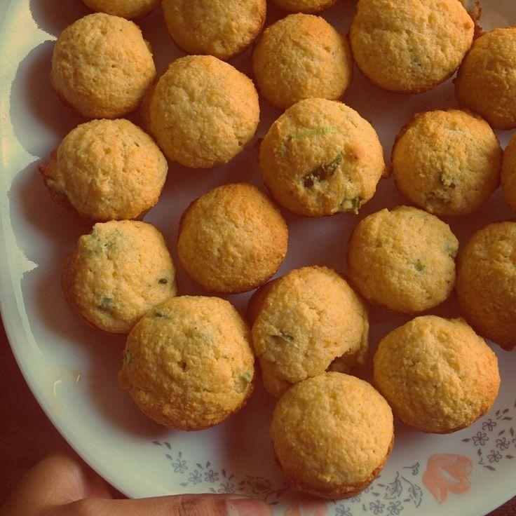 Homemade corn muffins.