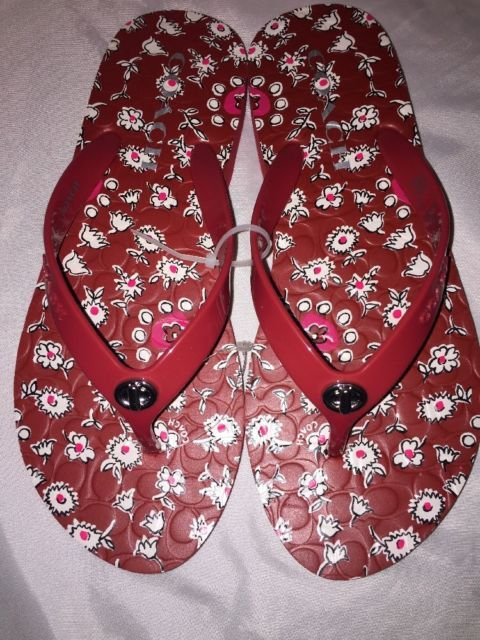 Coach Abbigail Floral Red Flip Flops Brand New Shoes Flat Sandals Size 5/6 | eBay