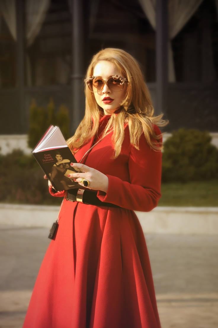 Lady in red lights up our garden  #Fashezine #red #fashion #sunglasses   at Epoque Hotel Bucharest