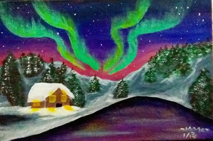 Northern Lights. Aurora Acrylic Painting.