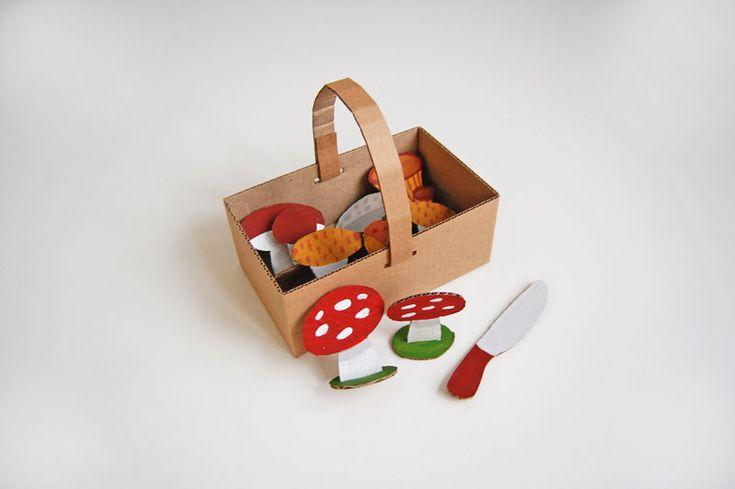 Cardboard basket with mushrooms