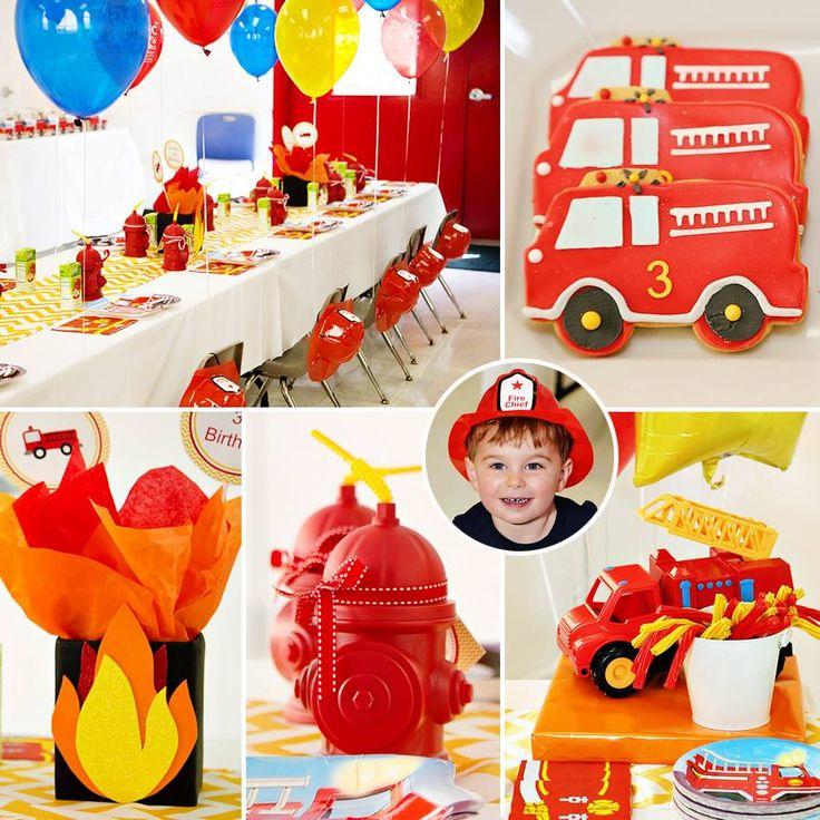 Super cute Fireman 3rd Birthday Party