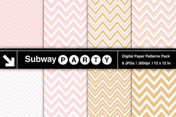 Blush Pink & Gold Chevron by SubwayParty on Creative Market