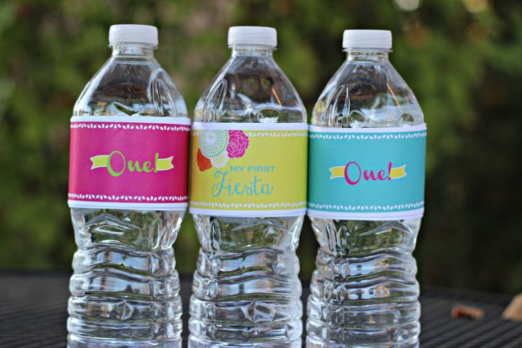 Girl Fiesta 1st / First Birthday Water Bottle Labels.  Set of 20.  Hot pink/orange/yellow/green/teal party decoration.  Any Age. by CharmingTouchParties on Etsy