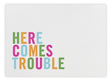 kate spade here comes trouble birth announcement   cool mom picks, PaperlessPost.com