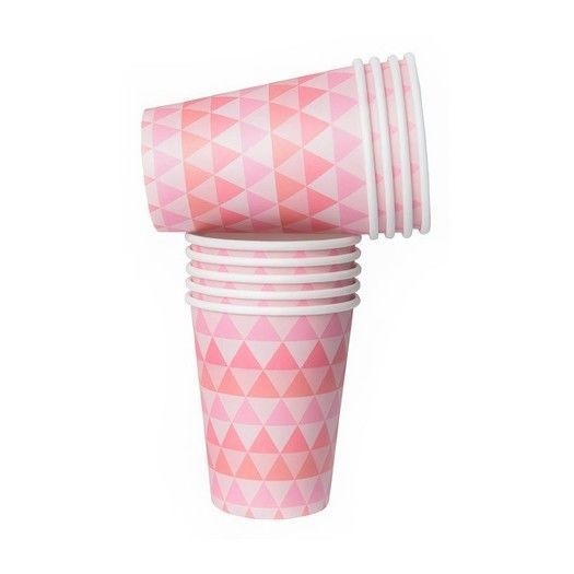 Pink Geo Print Cups, Cups