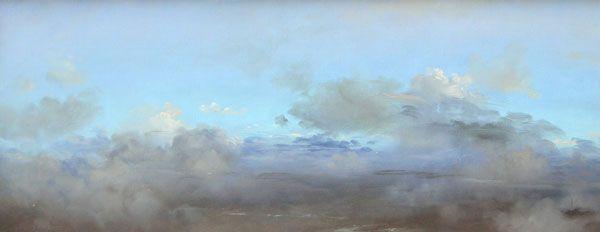 Carlos Nariño, Flying blues, 2010, oil on canvas, 19.5 x 49.5 cm.