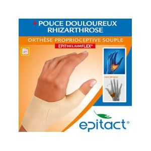 Epitact Órtese Propriocetiva Flexível Mão Esquerda , a sua utilização durante o dia, ajuda a aliviar as dores articulares na base do polegar (rizartrose), limitando as micromobilizações traumáticas.