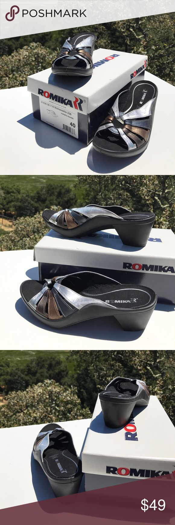 "Romika Mokasseta Metallic Slides Sandals Wedges 40 Hardly worn if ever.  2.5"" heels. Romika Shoes Sandals"