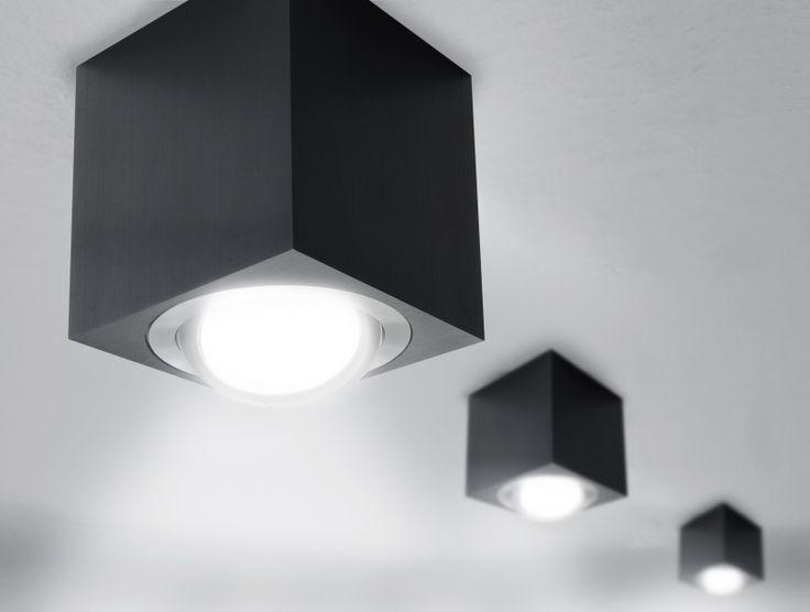 LED Aufbaustrahler aufputz schwenkbar quadratisch schwarz GU10-230V #WF6