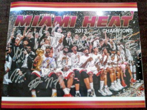 This 16x20 Miami Heat Team Photograph has been personally hand signed by 2012/2013 Miami Heat Basketball Team including Mario Chalmers, Chris Bosh, Joel Anthony, Shane Battier, Chris Andersen, Norris Cole, Juwan Howard, LeBron James, James Jones, Rashard Lewis, Jarvis Varnado, Dwyane Wade, Udonis Haslem, Ray Allen and Mike Miller.