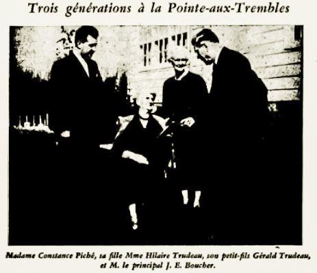 Sep 15,1951 l'Aurore - Trois générations de l'institut évangélique de la Pointe-aux-Trembles, Québec avec le principal Dr. Boucher.
