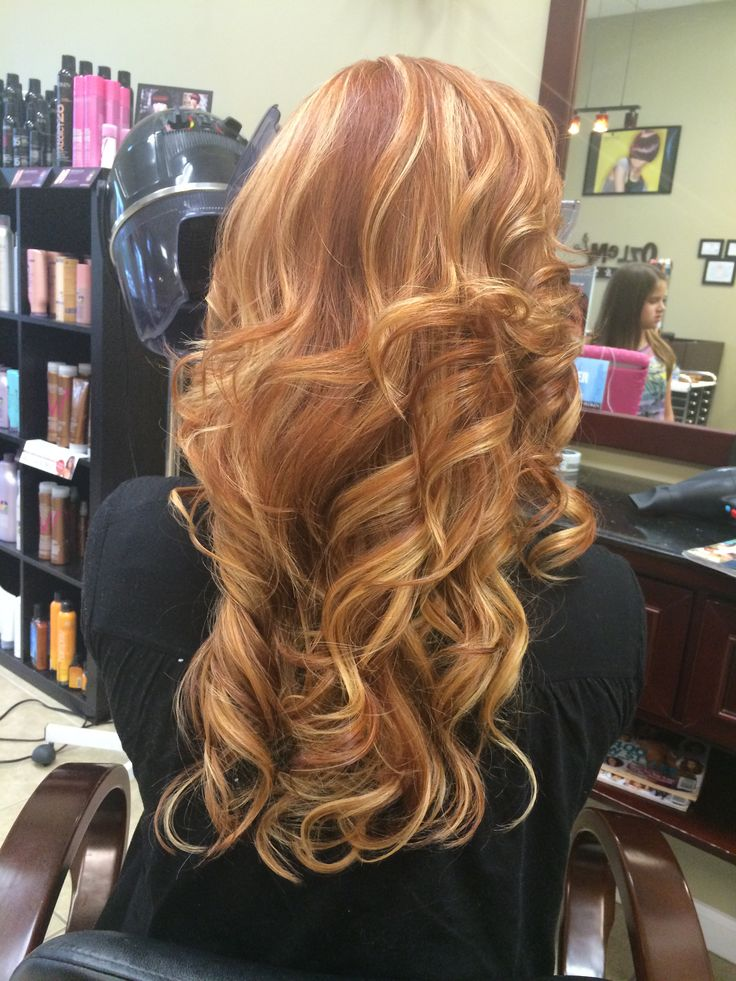 Strawberry blonde, long layers, curls, red hair, highlights, ombre  cute Hillery!
