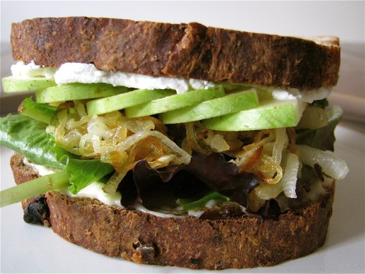 Vegetarian Goat Cheese, Brie, and Caramelized Onion Sandwich with ...