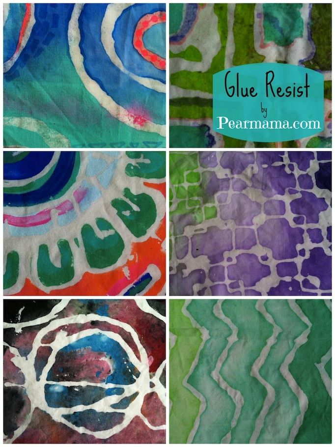 Pearmama: DIY Batik | Glue Resist Fabric Prints