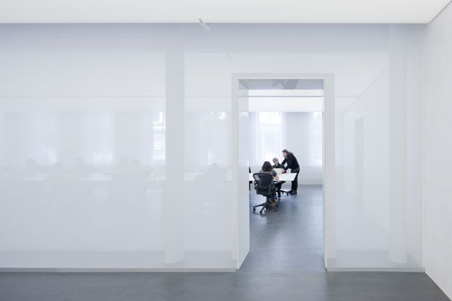 By Architectural Record using Scrim as a wall material for office division no more fish tanks conference rooms