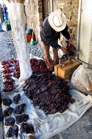 street vendor selling chiles, Mexico