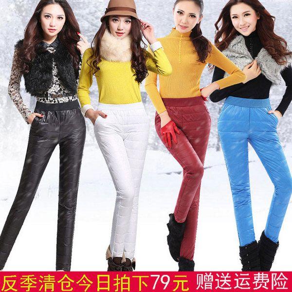 Зимние высокой талии плюс толстый бархат теплой верхней одежды брюки женские брюки Тонкий прямой большой ярдов вниз брюки открытый двухсторонний