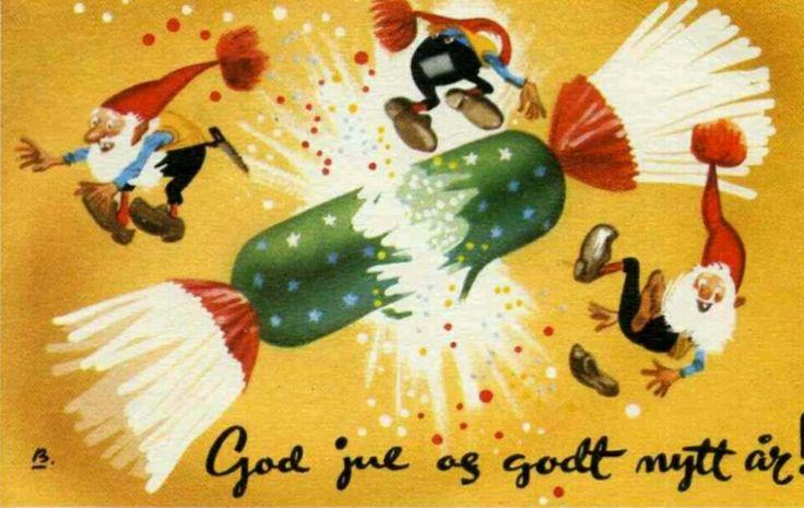 Julekort Nyttårskort Gunnar Bratlie Utg Aune Stemplet 1954