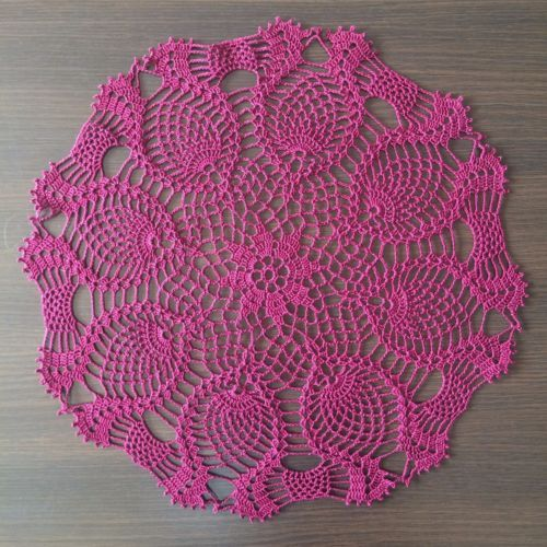 Pineapple-Handmade-Crochet-Lace-Doily-Wall-Decor-Tablecloth-Wine-Red