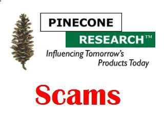 Pine Cone Research Scam August 2013: If you receive email messages appearing as if they came from PineCone Research, promising you money in order to complete surveys, cash a Check (Cheque) or request personal information, please delete these email messages. These emails are scams that may get you arrested. Please be aware that Pinecone Research has no involvement in these scams. Participating in their surveys is always free of charge, and they will never ask their panelists to cash a c...