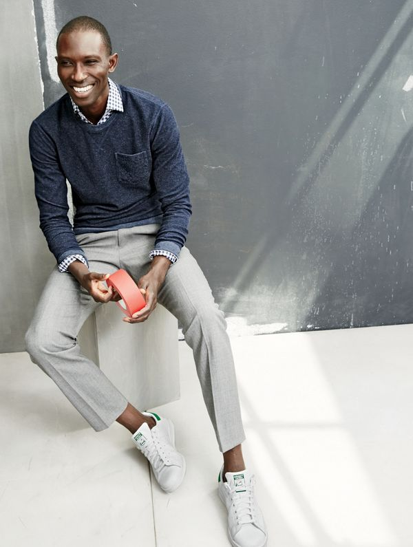 J.Crew men's reverse terry sweatshirt, Ludlow spread-collar shirt in navy gingham, Ludlow Traveler suit pant and unisex Adidas® Stan Smith™ sneakers.