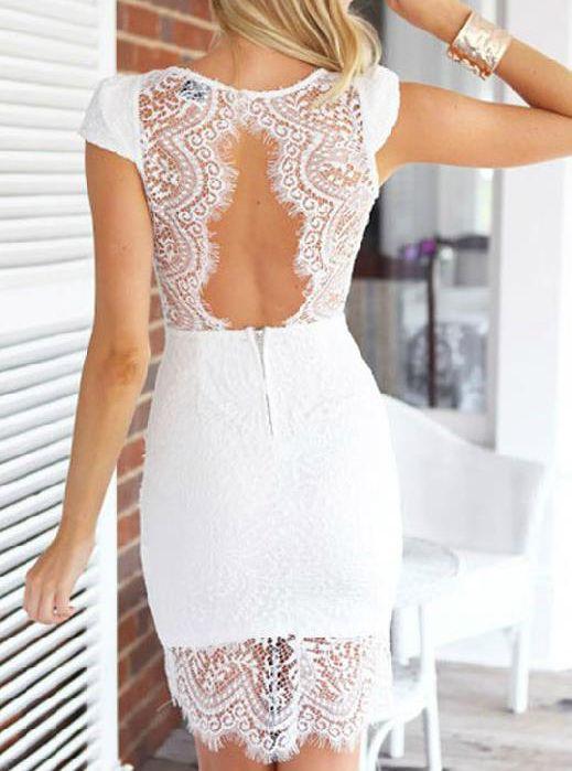 White Short Sleeve Hollow Bodycon Dress 31.00