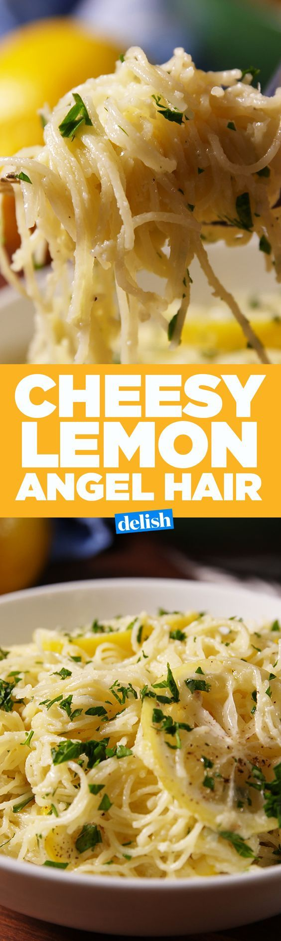 This Cheesy Lemon Angel Hair is the fanciest comfort food we've ever had. Get the recipe on Delish.com.