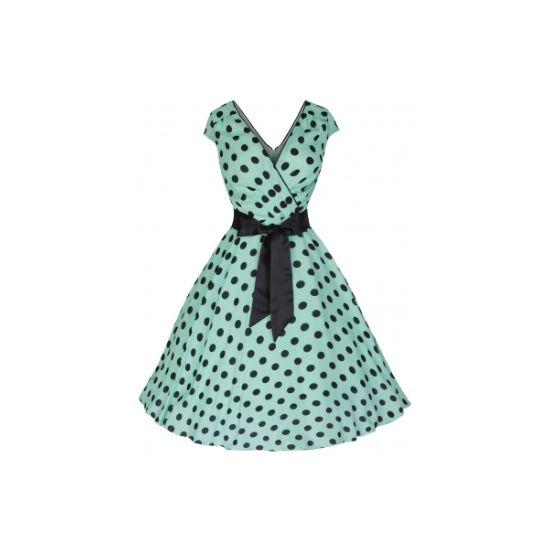 Retro šaty Lindy Bop Mary Ellen Green Šaty ve stylu 50. let. Naprosto dokonalé šaty pro romantické a něžné duše. Lehoučký příjemný materiál, velmi příjemný na dotek, ideální pro teplé letní dny i večery. Krásná mentolově zelená barva, nadčasový černý puntík, rafinovaný střih vpředu imitující zavinovací typ šatů, vzadu také mírně vykrojené, krátký rukávek, v pase hedvábná černá stuha. Pro bohatý objem sukně doporučujeme spolu se spodničkou z naší nabídky. Dobře měřte, materiál příliš nepruží.