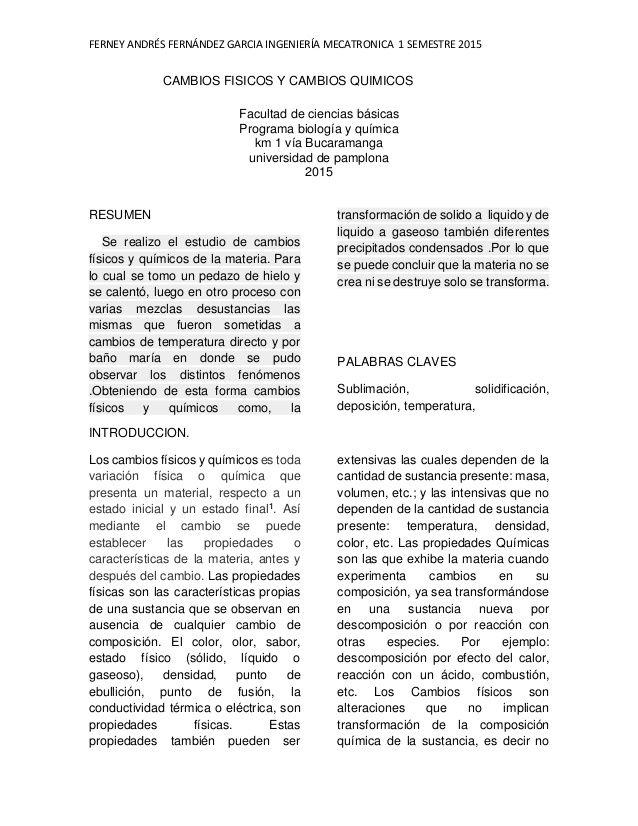 Informe De Laboratorio De Cambios Fisicos Y Quimicos Practica N 4 Up Cambio Fisico Quimica Fisica