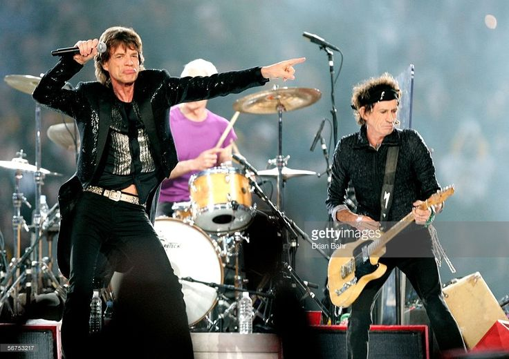 Musicians Mick Jagger, Charlie Watts and Keith Richards of The Rolling Stones perform during the 'Sprint Super Bowl XL Halftime Show' at Super Bowl XL between the Seattle Seahawks and the Pittsburgh Steelers at Ford Field on February 5, 2006 in Detroit, Michigan.