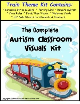 Autism Classroom Complete Visuals Kit -Train Theme PLUS KINDERGARTEN I CAN Common Core statement cards!  This train theme visuals kit is all that you need to set up your autism classroom.  Priced just right for your budget!With a train theme classroom that your students will love, this classroom visual package comes complete with check-in icons, parking lots or check-in boards, rules for many Centers, reward boards with ten-frame ticket placement, Looking Out The Train Window writing prompt…