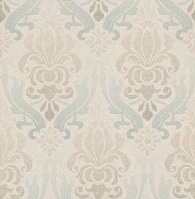 Albany Luna (FD66537) - Albany Wallpapers - A beautiful damask design in a tie-dye effect. Showing in blue and green on a cream background. Other colour ways available. Please request a sample for true colour match. Paste-the-wall products.