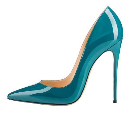 MONICOCO Women's Stiletto Heel Plus Size Pumps Shoes Pointed Toe Pump for Wedding Party Dress Patent Teal 8 US