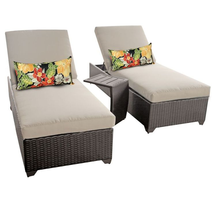 Miseno MPF-CLASC2X-ST Traditions 3-Piece Aluminum Framed Outdoor Chaise Lounge C Beige Furniture Outdoor Furniture Outdoor Lounge Chairs