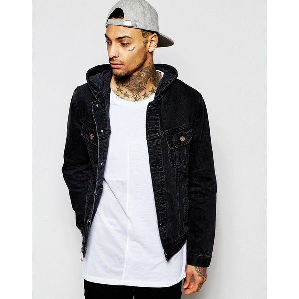 ASOS Hooded Denim Jacket in Black ($60) ❤ liked on Polyvore featuring men's fashion, men's clothing, men's outerwear, men's jackets, black, tall mens jackets, asos mens jackets, mens tall denim jacket, mens hooded jackets and mens hooded jean jacket