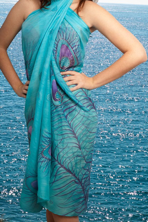 Elegant  Hand Painted Silk  Cotton Beach Sarong  by LigaKandele, $65.00