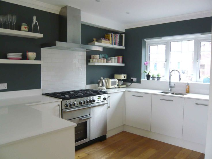our new white kitchen; F&B downpipe on walls, quartz worktop, open shelving, subway tile & range cooker. lucydorothy.com