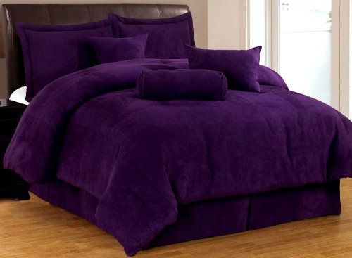 7 piece solid purple micro suede comforter set full bed in a bag with accent pillows