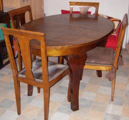 4 stoličky + rozkladací stol v prevedení Gerstl - 1920, rozměry stola: dlžka 137cm, po rozložení 187cm, šírka 100cm, výška 80cm. K nábytku poskytujem znalecký posudok. 2.700 Kč.