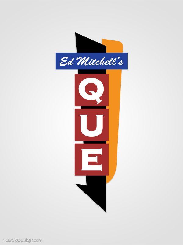 Ed Mitchell's Que - Durham, NC   |  Logo Design - See more samples at https://haeckdesign.com/portfolio/logo-design #logo #logodesign #bbq