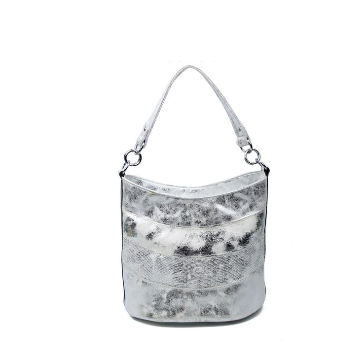 OBC DAMEN TASCHE SHOPPER METALLIC Henkeltasche Schultertasche Umhängetasche Handtasche Beuteltasche Hobo-Bag Handtasche Silber – Italyshop24.com