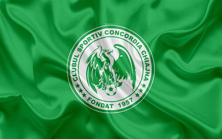 Download wallpapers Concordia Chiajna FC, 4k, Romanian football club, logo, silk flag, Romanian Liga 1, Chiajna, Ilfov County, Romania, football