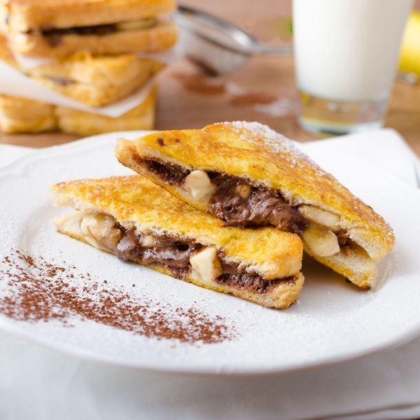 Croque de pain perdu banane-chocolat