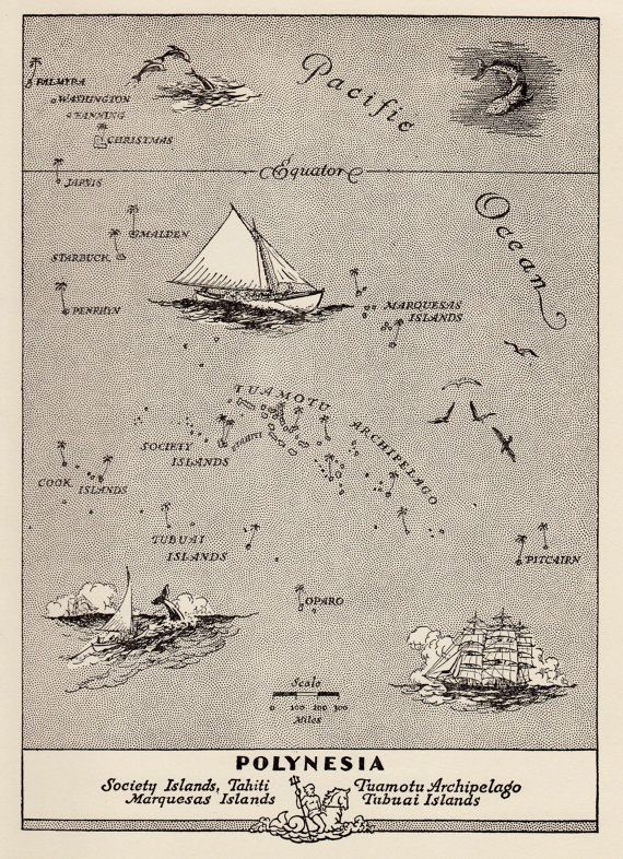 Charming OCEANIA Map Polynesia Map WHIMSICAL by plaindealing