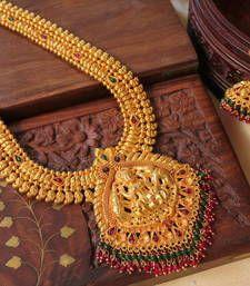 Buy Gorgeous  antique pink-green bridal lakshmi long haar set necklace-set online