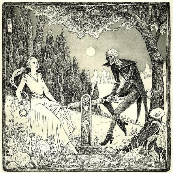 Playing with Death. I always like scenes where Death is interacting with the living in a non-threatening way.