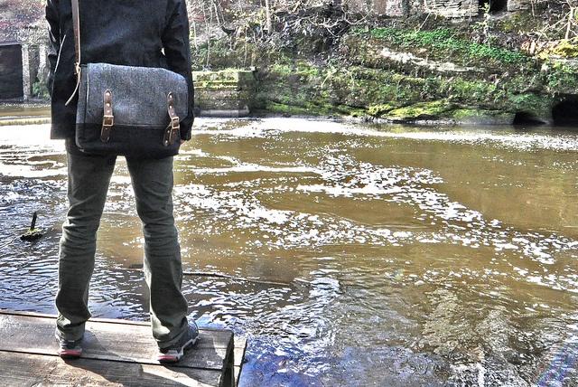 The Sadler Messenger Bag - my tweed messenger bag being modelled by the lovely Tim.