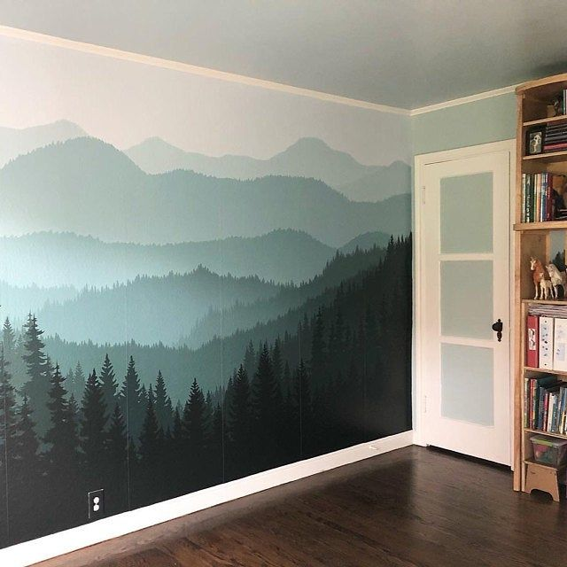 Removable Peel N Stick Wallpaper Self Adhesive Wall Mural 3d Mountain Mural Wallpaper Nursery Ombre Blue Mountain Pine Forest Trees In 2020 Mountain Mural Wall Murals Diy Mountain Wall Painting